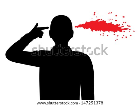 silhouette of a man folded his fingers into the shape of a gun and holds his temple. Pulled out of my head the blood spatter  - stock photo