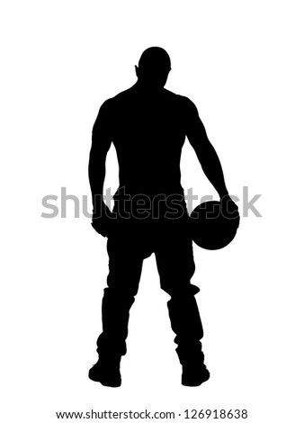 Silhouette of a man holding a volley ball against white background - stock photo