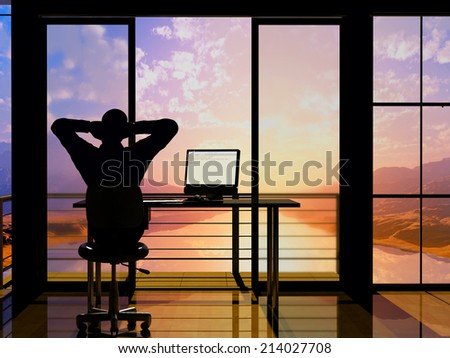 Silhouette of a man in a chair in office. - stock photo