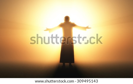 Silhouette of a man in a fog.