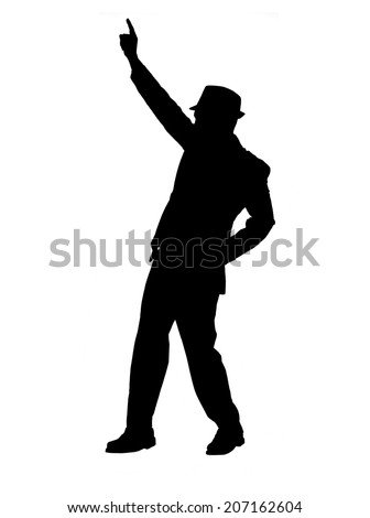 Silhouette of a man in a suit and hat pointing as if hailing a  cab, dancing or speaking isolated on white. - stock photo