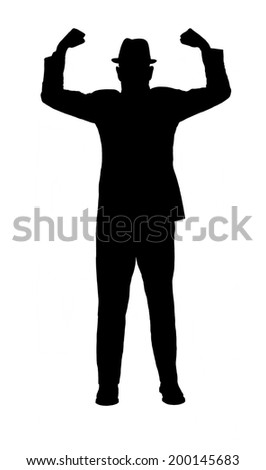 Silhouette of a man in a suit and hat with arms raised to show strength  and power isolated on white.