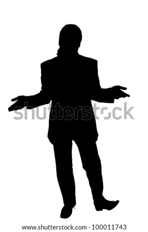 silhouette of a man in a suit shrugs