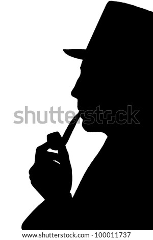 Silhouette of a man in a top-hat smoking pipe