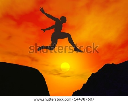 Silhouette of a man jumping through the gap by beautiful red sunset