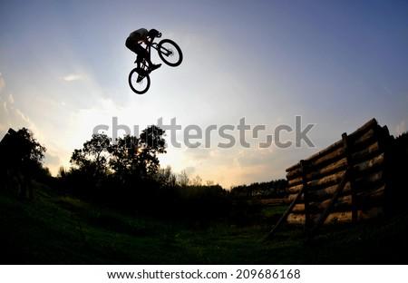 silhouette of a man on a mountain bike - stock photo