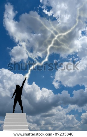silhouette of a man on top of the ladder reaching to heaven from the hand produces lightning. natural composition - stock photo