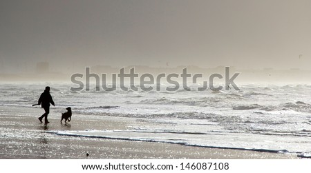 Silhouette of a man playing with his dog on the beach - stock photo
