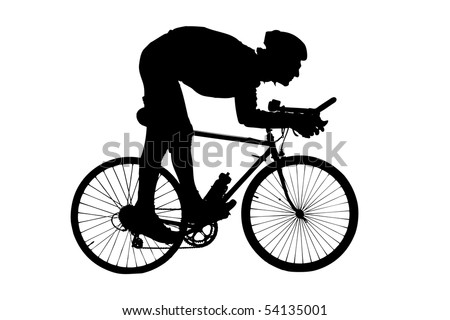 Silhouette of a man riding a bicycle isolated on white background