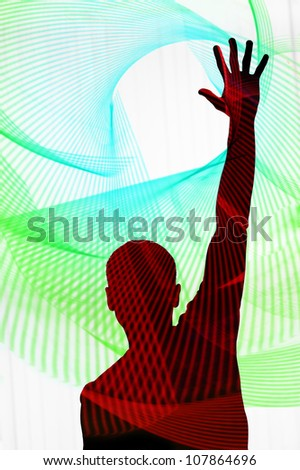 silhouette of a man with arm raised