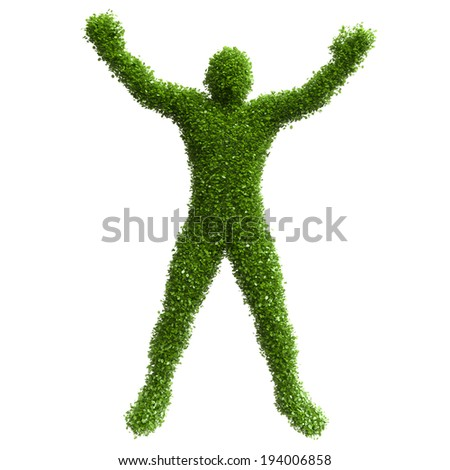 Silhouette of a man with his hands raised from green leaves - stock photo
