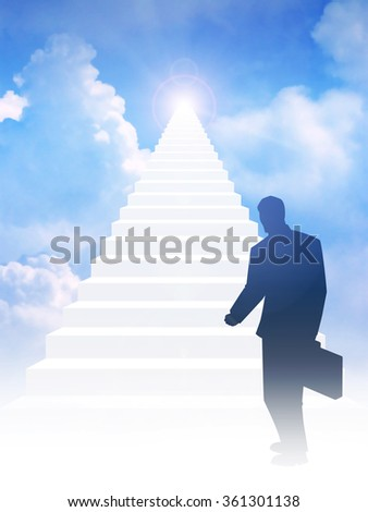 Silhouette of a man with suitcase step on to stairway leading up to bright light above the sky. Success, motivation, determination concept - stock photo