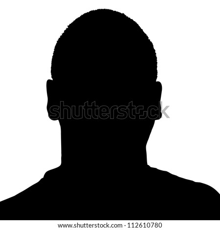 Silhouette of a mans head in black over a white background.