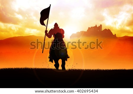 Silhouette of a medieval knight on horse carrying a flag on dramatic scene - stock photo