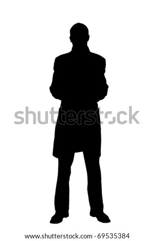 silhouette of a men in coat - stock photo