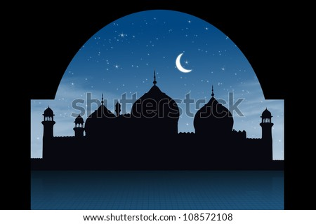 Silhouette of a mosque shot in a starry night - stock photo