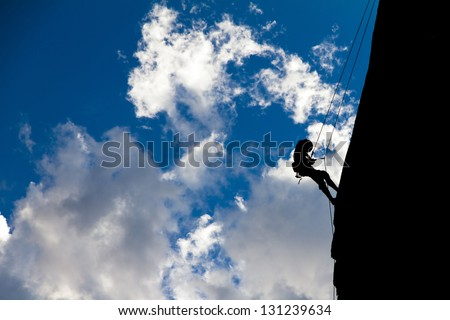 Silhouette of a mountaineer in Velebit national park, Croatia - stock photo