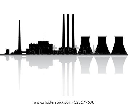 Silhouette Power Plant Vector Illustration Stock Vector