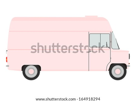 Silhouette of a retro van. Place for any text. - stock photo
