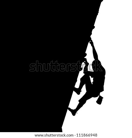 Silhouette of a rock climber on a vertical wall isolated against white. - stock photo