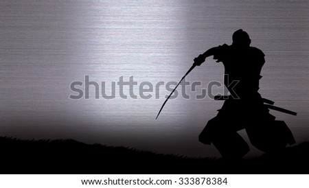 Silhouette of a samurai posing on the silver background - stock photo