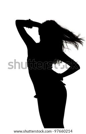 Silhouette of a Sexy Woman Modeling - Image with clipping path - stock photo