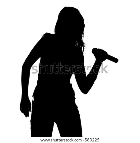 Silhouette Of A Singing Girl