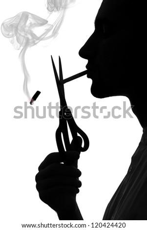 Silhouette of a smoking man, stop smoking concept - stock photo
