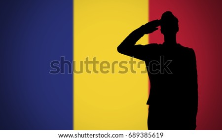 silhouette of a soldier saluting against the romania flag