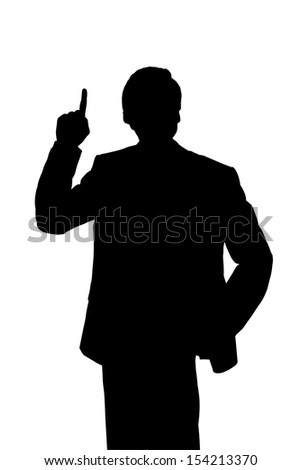 Silhouette of a succesfull business man raising the question