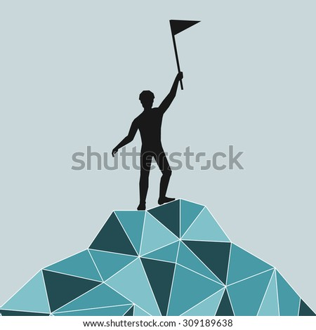 silhouette of a successful mountaineering on a mountain summit. Safety. blue mountains in the technique Triangle. - stock photo