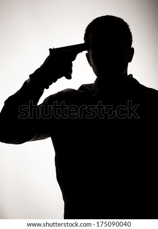 Silhouette of a suicidal man