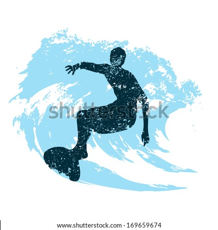 silhouette of a surfer in grunge style splashes - stock photo