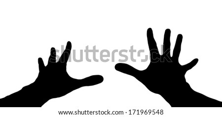 Silhouette of a two hands isolated on white.