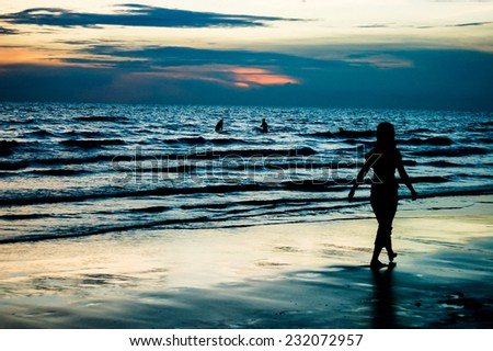 Silhouette of a Woman on the Beach in Thailand