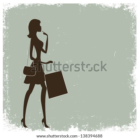 Silhouette of a woman shopping. Vintage poster with place for text