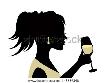 silhouette of a woman with a glass on a white background  - stock photo