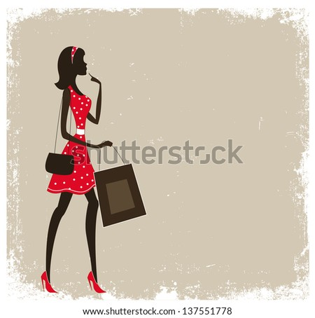Silhouette of a women shopping. Vintage poster with place for text