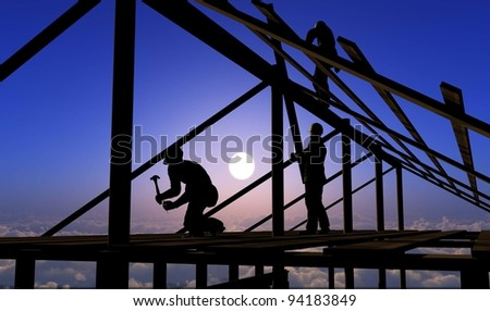 Silhouette of a workers  on the stairs. - stock photo