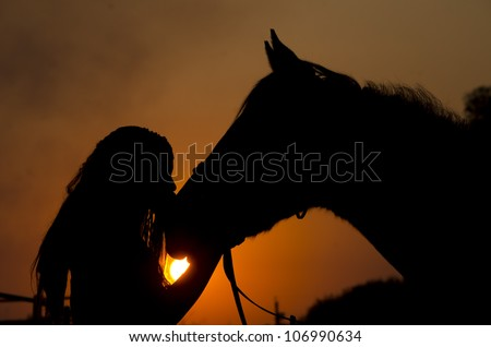 silhouette of a young African American girl with her thoroughbred horse giving him a kiss while holding his nose as the sun sets with an orange and black color in the background - stock photo