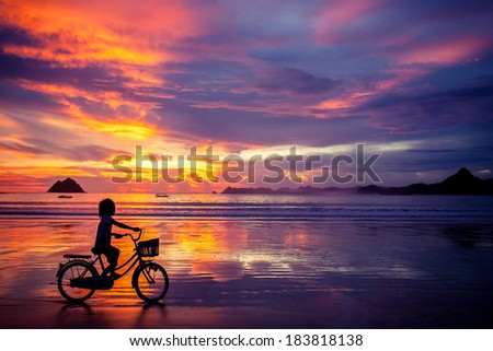 silhouette of a young girl, a teenager and an old bicycle with a basket at a colorful sunset near the water - stock photo
