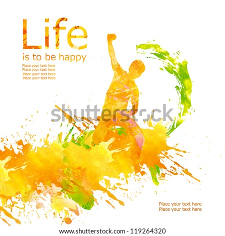 Silhouette of a young man in a jump, against splashes of watercolor paint. Life is to be happy. Good emotions. - stock photo