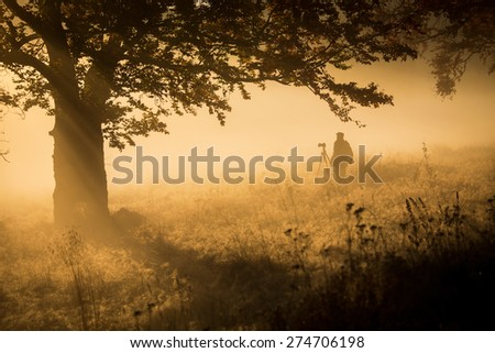 Silhouette of a young photographer during a foggy sunrise. - stock photo