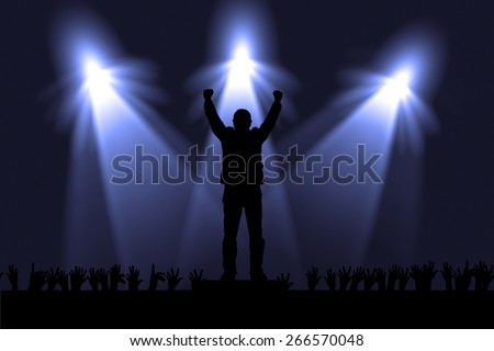 Silhouette of actors in the spotlight - stock photo