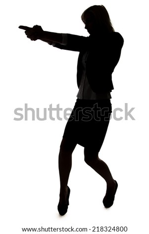 Silhouette of agent woman with handgun on white background