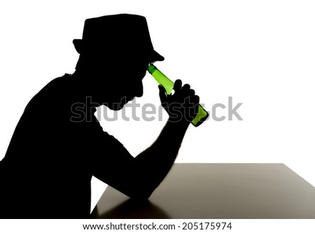 silhouette of alcoholic drunk young man with hat  drinking beer bottle feeling depressed falling into addiction problem isolated on white background - stock photo