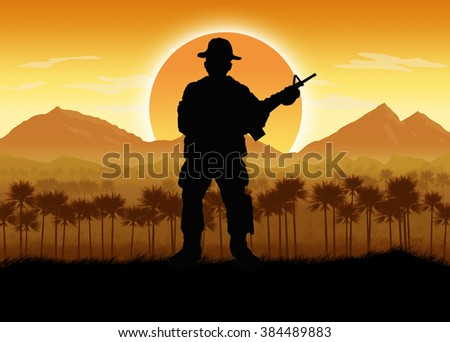Silhouette of American soldier, Circa late 1960's in Vietnam or jungle warfare scenario. Artist illustration.