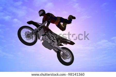 Silhouette of an athlete and a motorcycle in the sky. - stock photo