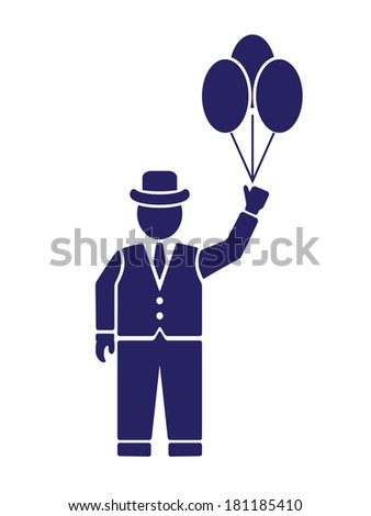 silhouette of an English gentleman - stock photo