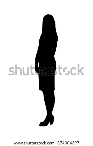 Silhouette of an office dressed, female business person wearing a skirt and heeled shoes.